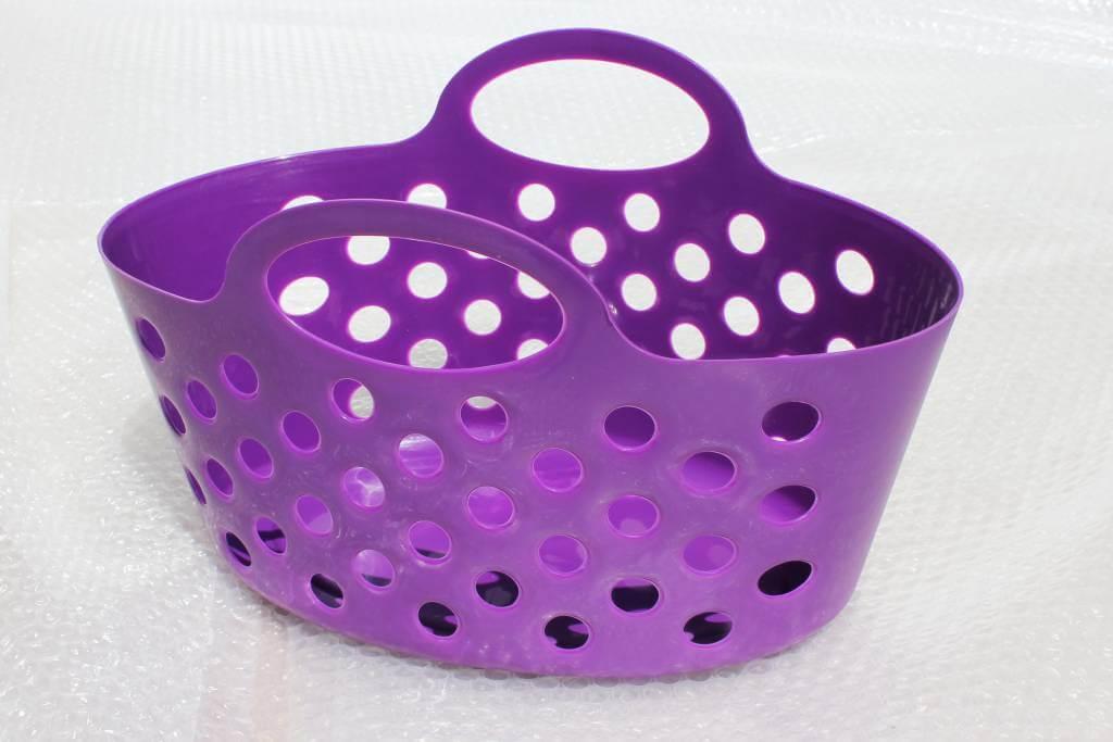 Purple Plastic Baskets With Dual Handle Storage Baskets