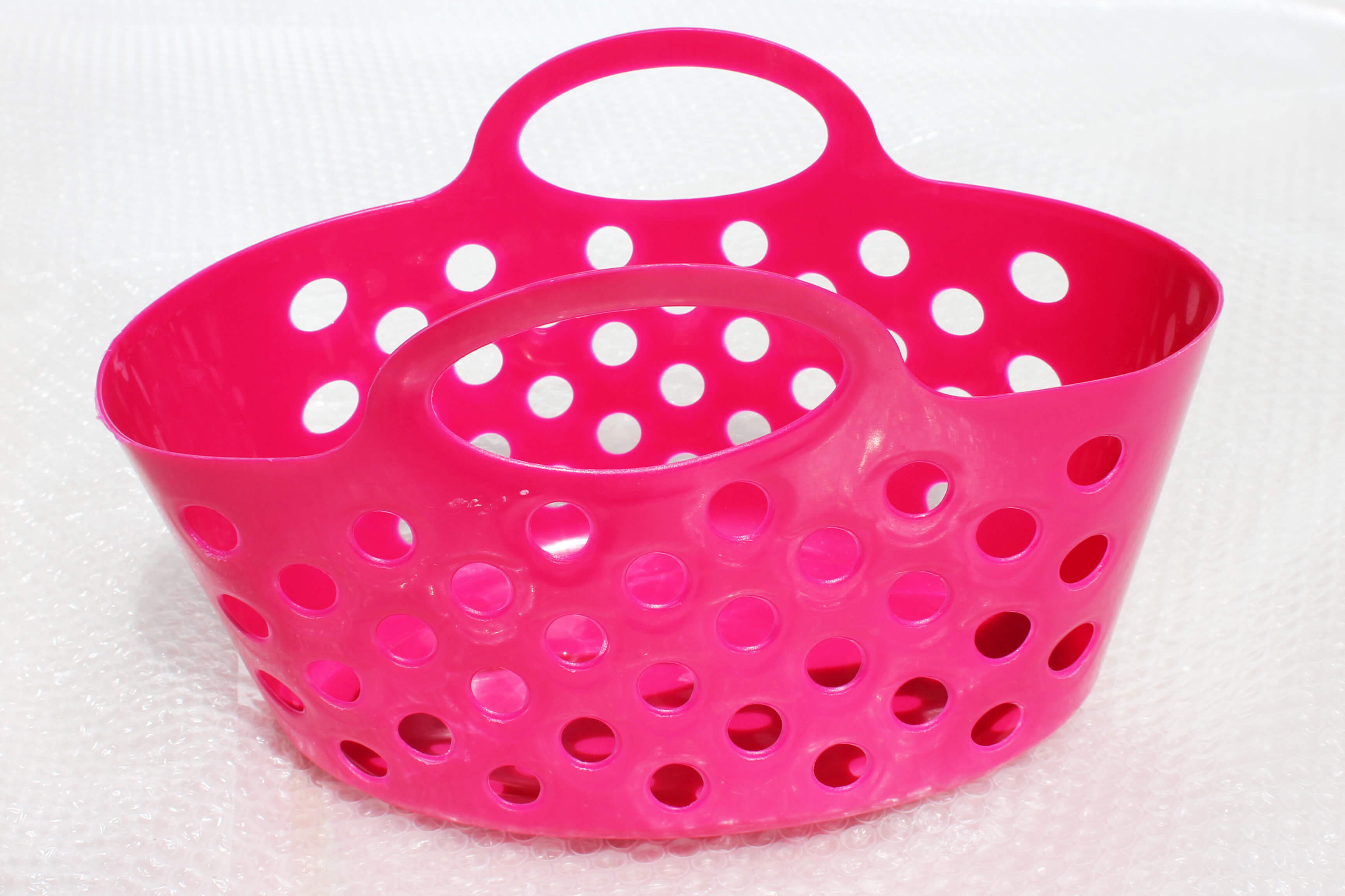 Hot Pink Plastic Baskets With Dual Handle Storage Baskets