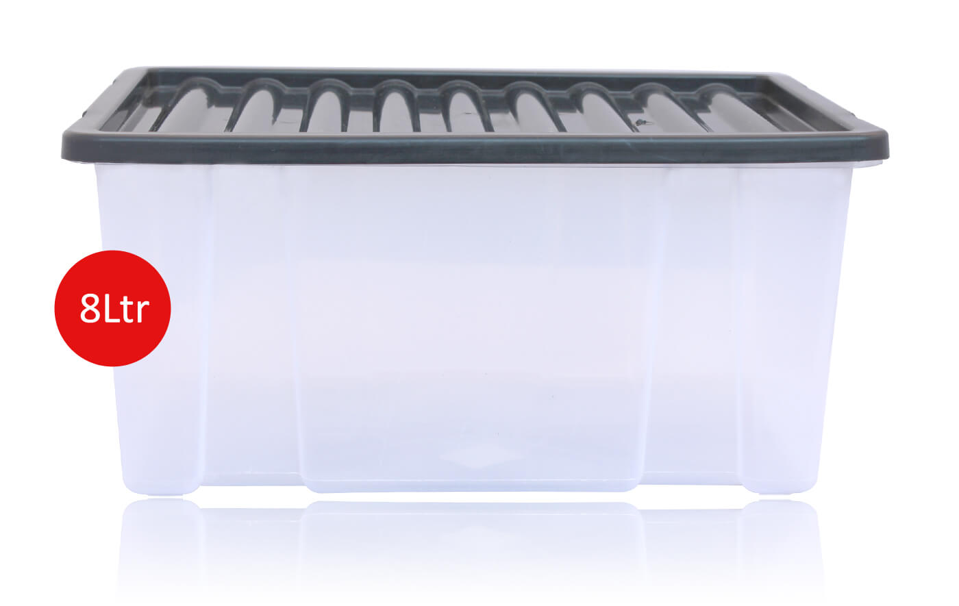 8 Litre Plastic Storage Box Solid Container With Black Lid